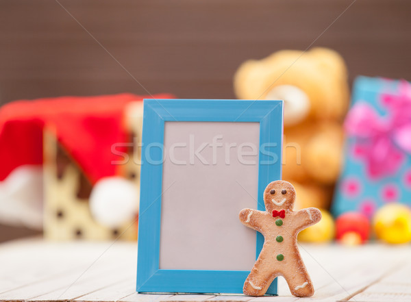 Gingerbread man azul quadro photo frame natal madeira Foto stock © Massonforstock