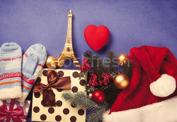 Karácsony ajándékok Eiffel-torony játék kék szív Stock fotó © Massonforstock