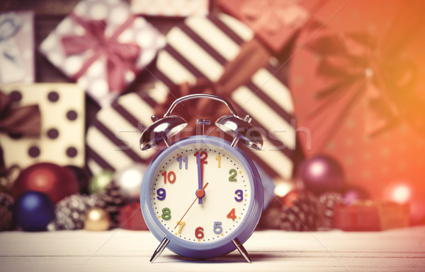 Clock and Christmas toys. Stock photo © Massonforstock