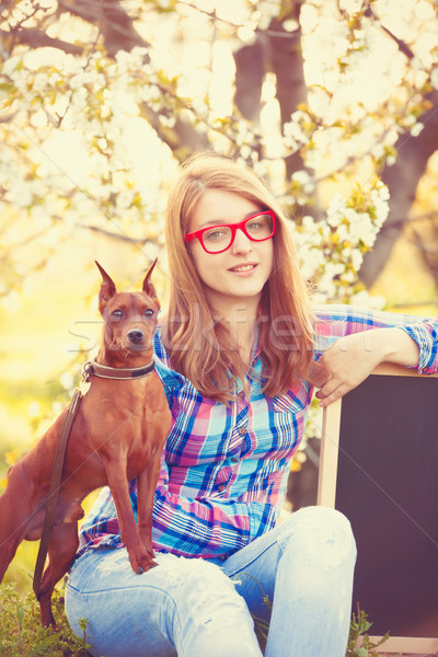 Young teen girl in red glasses with god  Stock photo © Massonforstock