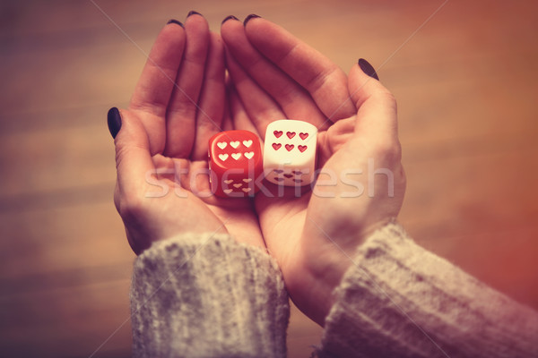 hands holding dice Stock photo © Massonforstock