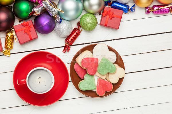 Stock fotó: Csésze · kávé · tányér · tele · sütik · gyönyörű