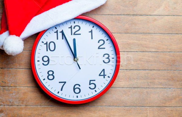 Vermelho relógio papai noel seis maravilhoso marrom Foto stock © Massonforstock