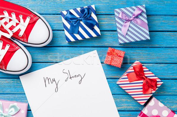 Fotó papír enyém történet aranyos ajándékok Stock fotó © Massonforstock