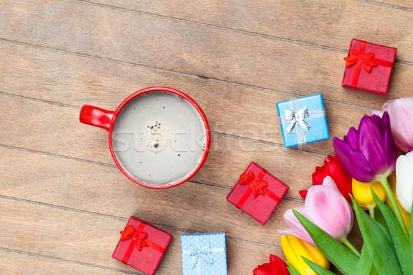 Foto stock: Foto · hermosa · colorido · tulipanes · taza
