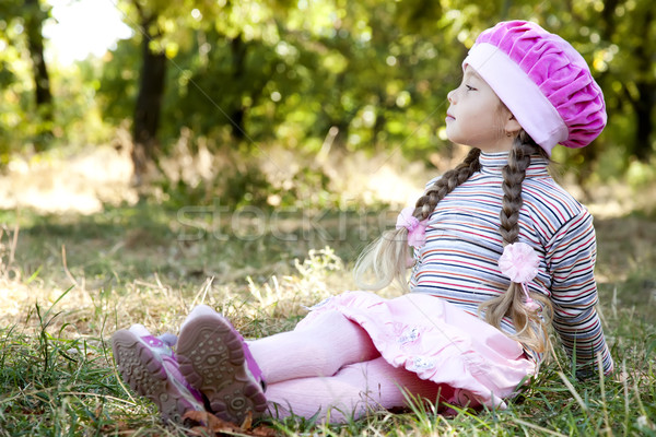 Cute little girl at outdoor in fall. Stock photo © Massonforstock