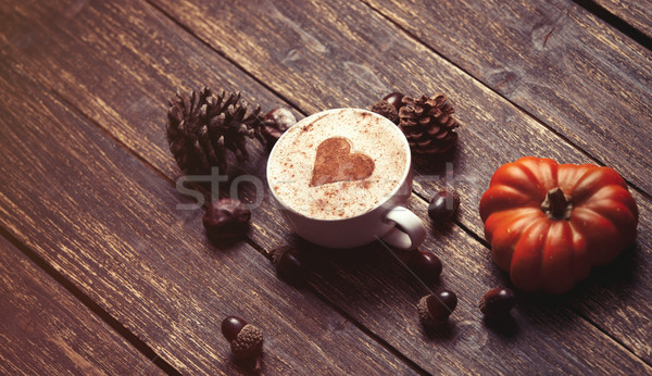 Cup and pine cone with acorn and pumpkin  Stock photo © Massonforstock