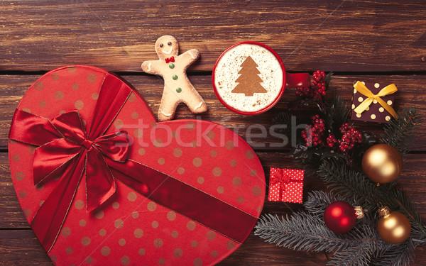 Сток-фото: капучино · подарки · Кубок · рождественская · елка · форма · сосна