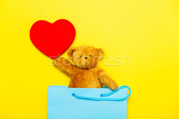 teddy bear with toy in bag Stock photo © Massonforstock