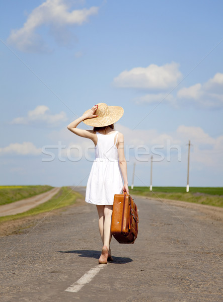 Solitaire fille valise route femmes Photo stock © Massonforstock