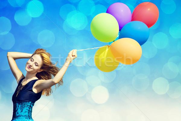 Stockfoto: Meisje · kleur · ballonnen · foto · bokeh