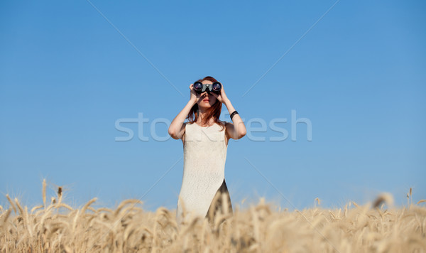 少女 麦畑 赤毛 白いドレス 顔 抽象的な ストックフォト © Massonforstock