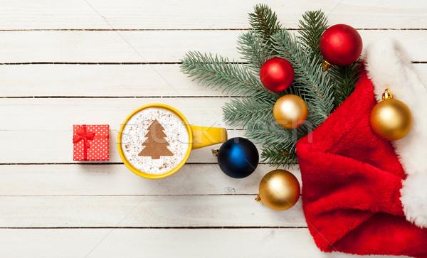 капучино рождественская елка форма Кубок шкатулке деревянный стол Сток-фото © Massonforstock