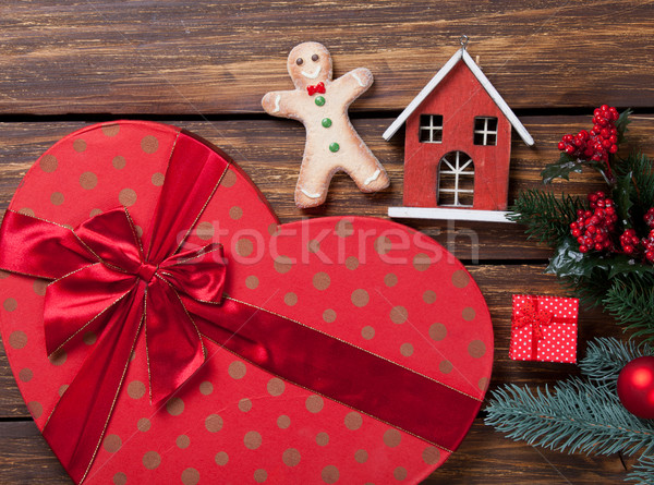 Gingerbread man natal presentes brinquedo retro Foto stock © Massonforstock