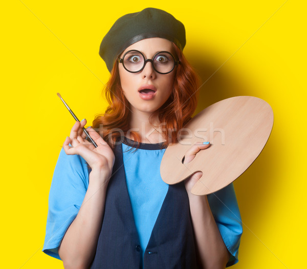Surprised redhead girl with brush and palette Stock photo © Massonforstock