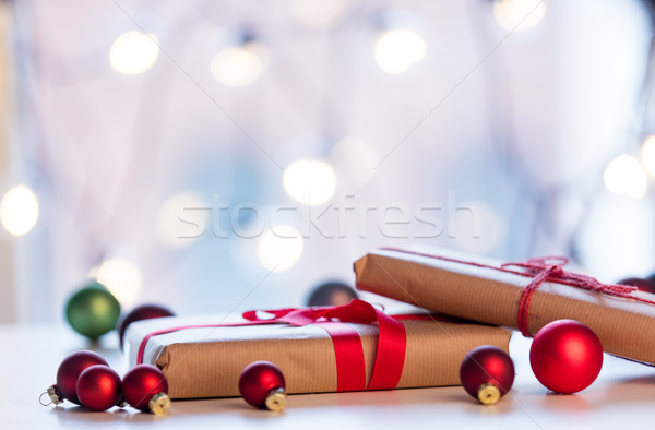 Christmas gift and baubles Stock photo © Massonforstock