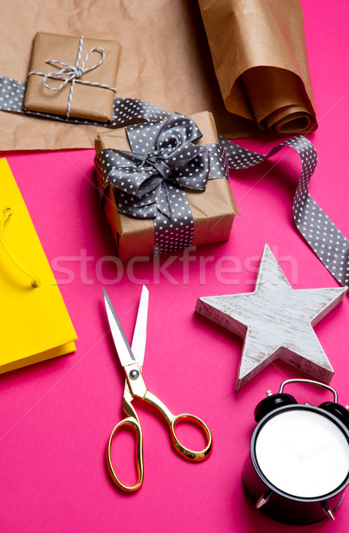 cute gifts, star shaped toy, shopping bag, alarm clock and thing Stock photo © Massonforstock