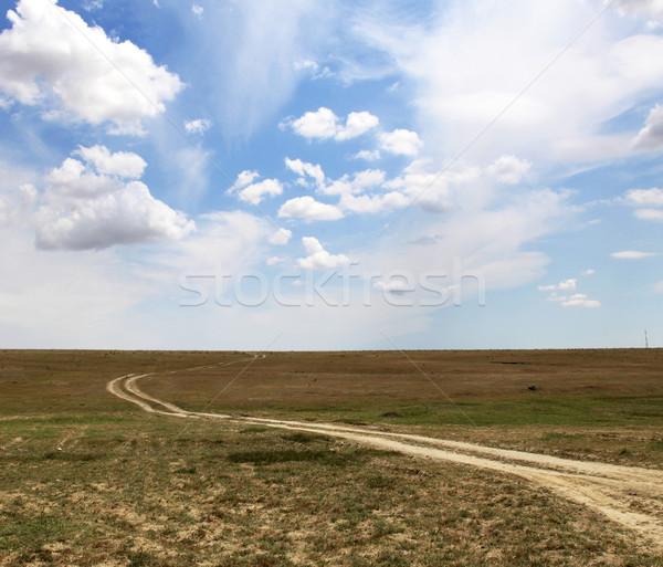 Vidéki út gyönyörű felhők égbolt tájkép nyár Stock fotó © Massonforstock