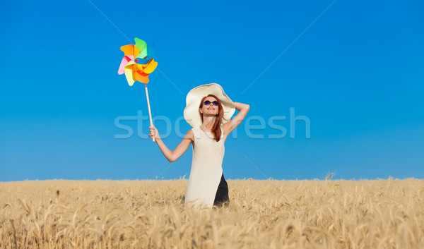 girl in white dress and wind toy Stock photo © Massonforstock