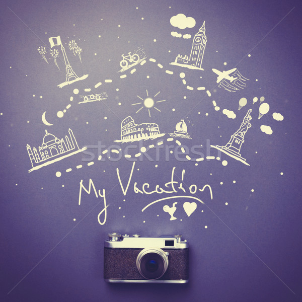 Camera and travel route  Stock photo © Massonforstock
