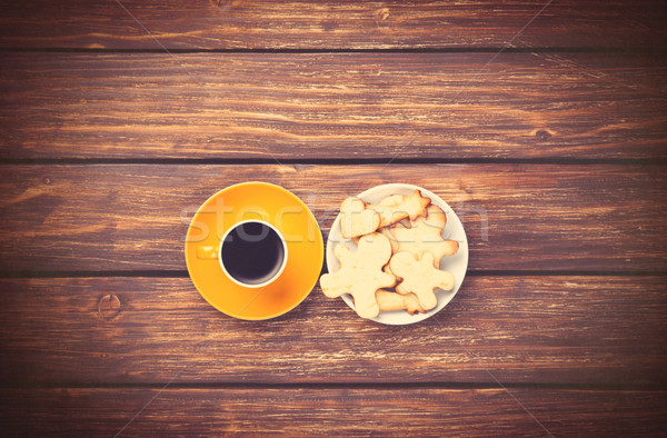 Beker koffie cookies foto oude Stockfoto © Massonforstock