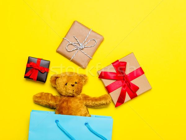 Hediyeler oyuncak ayı çanta küçük sevimli alışveriş çantası Stok fotoğraf © Massonforstock