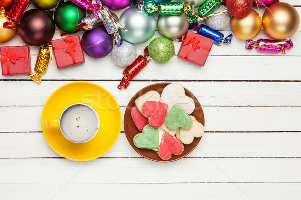 cup of coffee, plate full of cookies and beautiful christmas dec Stock photo © Massonforstock