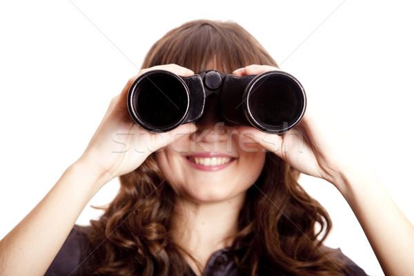 Stock photo: Brunette girl with binocular.