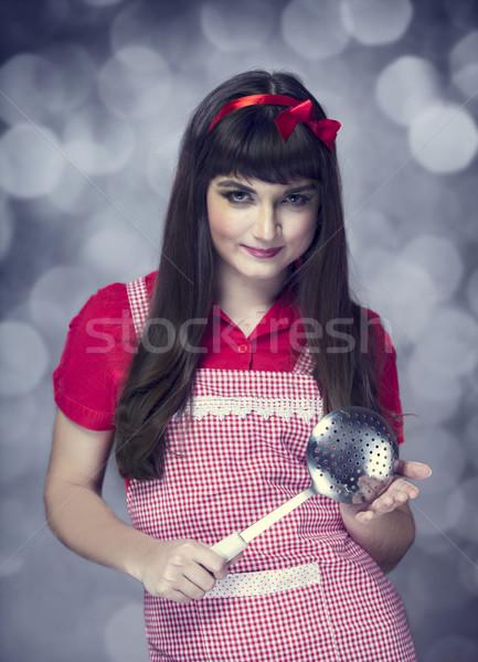брюнетка домохозяйка суп ковш моде домой Сток-фото © Massonforstock