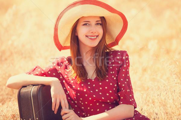 Stock fotó: Vörös · hajú · nő · lány · bőrönd · ül · fű · nők