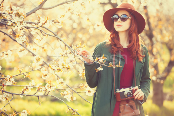 women with camera in blossom apple tree garden  Stock photo © Massonforstock