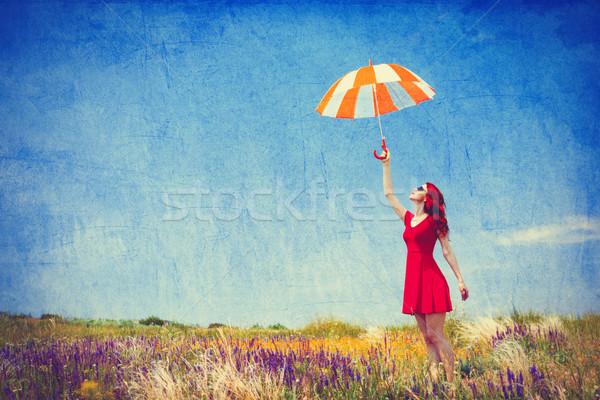 少女 赤いドレス 傘 草原 肖像 美しい ストックフォト © Massonforstock