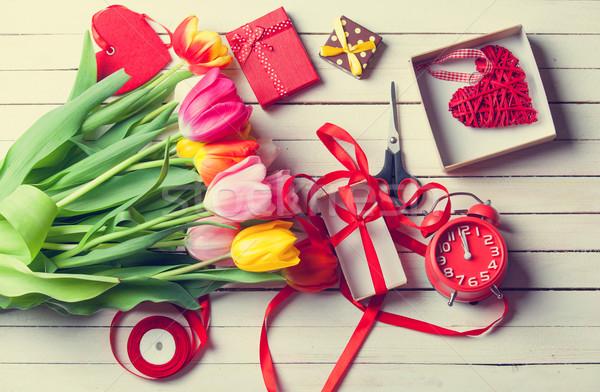 ножницы цветы будильник белый Сток-фото © Massonforstock