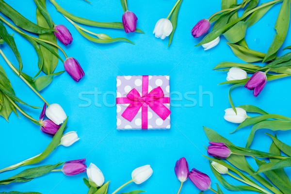 gift and tulips Stock photo © Massonforstock