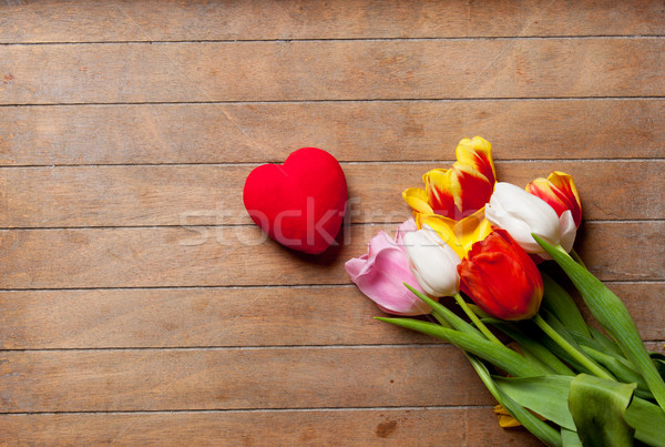 Coloré tulipes coeur jouet Photo stock © Massonforstock