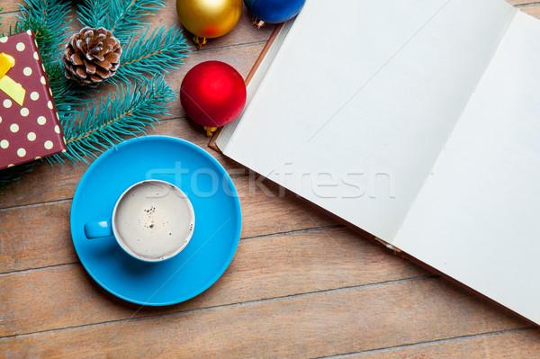 Stock fotó: Csésze · kávé · kinyitott · notebook · karácsony · díszítések