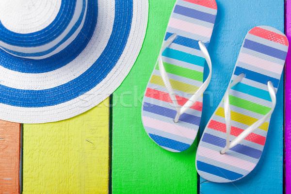 Színes szandál kalap csodálatos fából készült pop art Stock fotó © Massonforstock