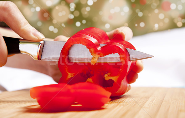 Bulgarian pepper cutting Stock photo © Massonforstock