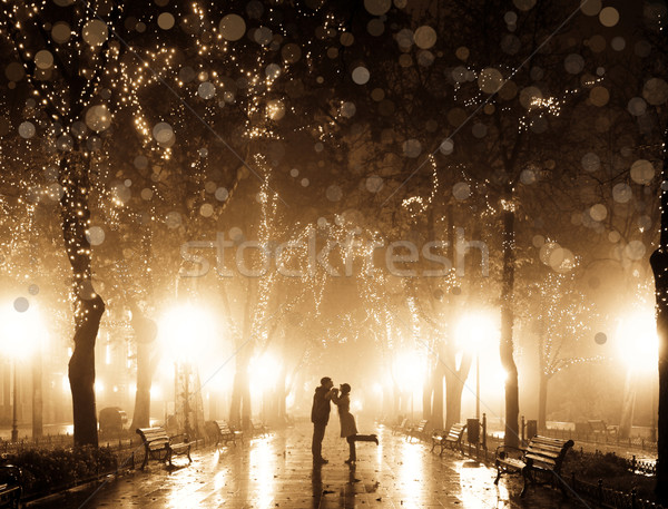 Couple walking at alley in night lights. Photo in vintage multic Stock photo © Massonforstock
