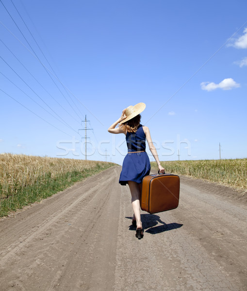 одиноко девушки чемодан дороги женщины Сток-фото © Massonforstock