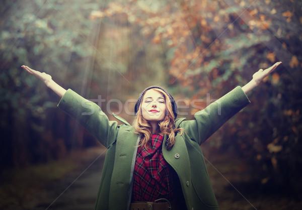 Stylu dziewczyna piękna jesienią aleja Zdjęcia stock © Massonforstock