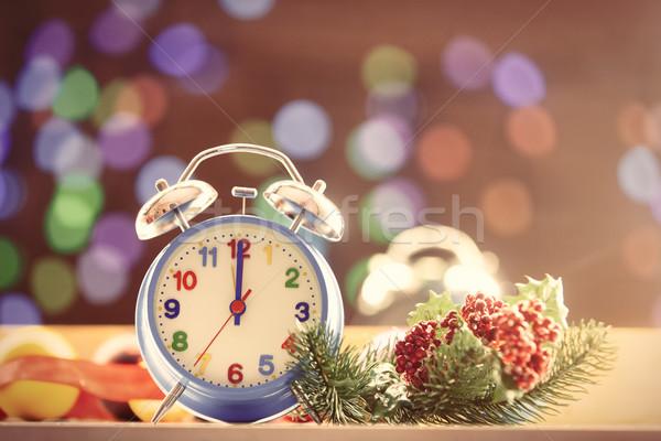 Zegar christmas światła drewna tle metal Zdjęcia stock © Massonforstock