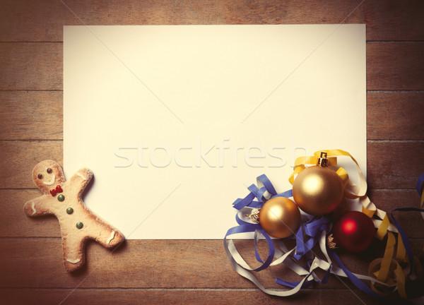 Noël jouets gingerbread man blanche bois papier Photo stock © Massonforstock