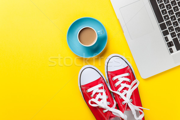 Cup and laptop computer with gumshoes  Stock photo © Massonforstock