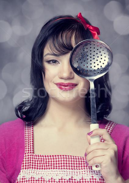 брюнетка домохозяйка суп ковш девушки лице Сток-фото © Massonforstock