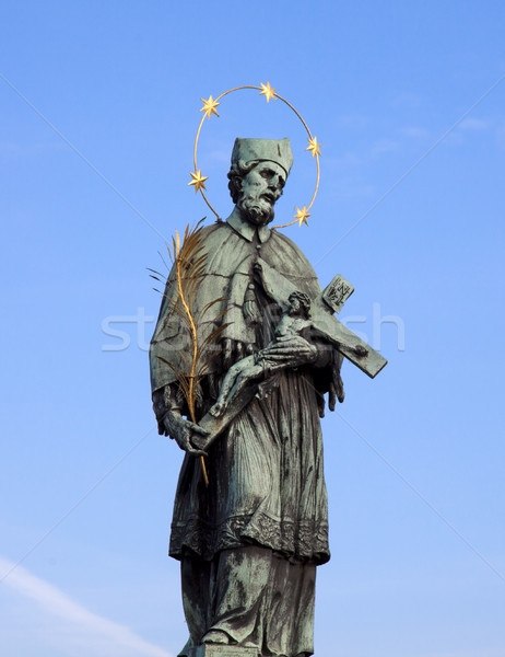Prague - Statue of Jan Nepomucky on Charles Bridge and Hradcany Stock photo © Massonforstock