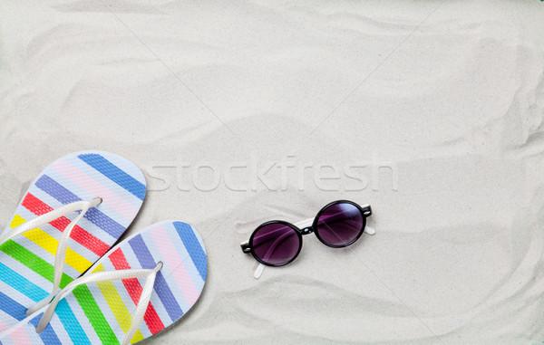 Színes nyár papucs napszemüveg fehér homok fotó Stock fotó © Massonforstock