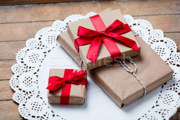 Geschenken servet mooie witte prachtig bruin Stockfoto © Massonforstock
