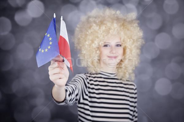 Schöne Mädchen zeigen Union Polen Flagge Stock foto © Massonforstock