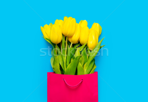 bunch of yellow tulips in cool shopping bag on the wonderful blu Stock photo © Massonforstock